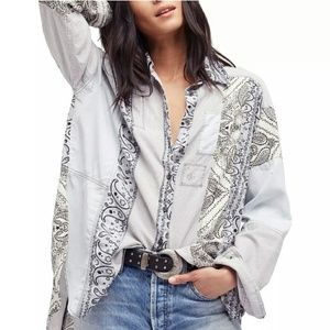 Nwt~Free People All Patched Up Button Down